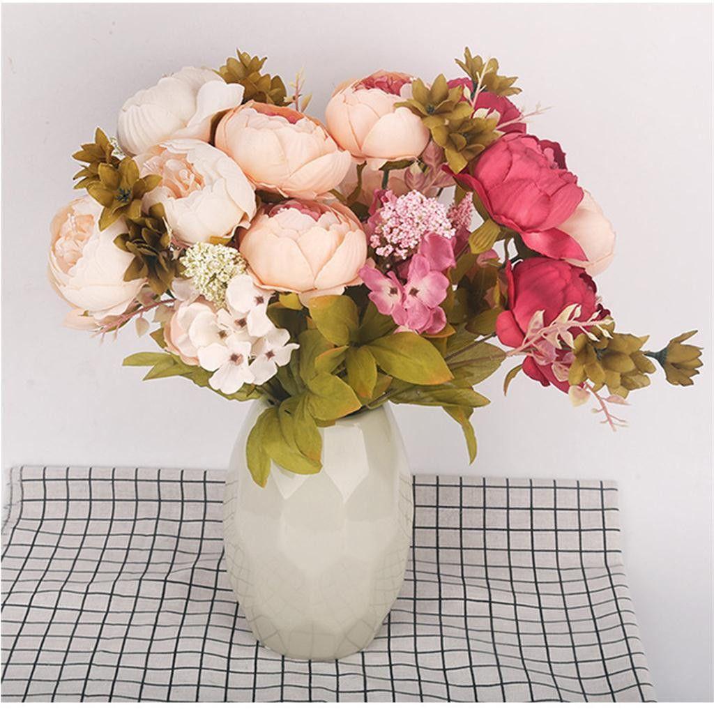 # 3 s artificielle Pivoine fleur pour soirée de mariage Home Décor Faux Fleurs Bouquet de mariée réel toucher Belle Tissu Pivoine Bouquet