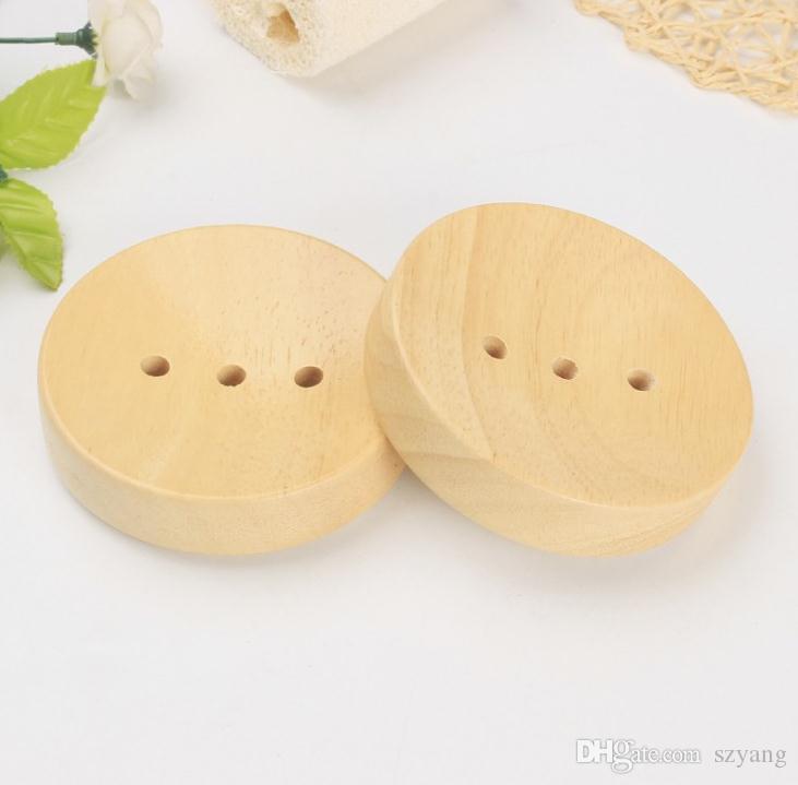 Badezimmer aus Holz Seifenschalen Sink Deck Badewanne Dusche Seifenhalter Runde Handfertigkeit Naturholzhalter SN3833