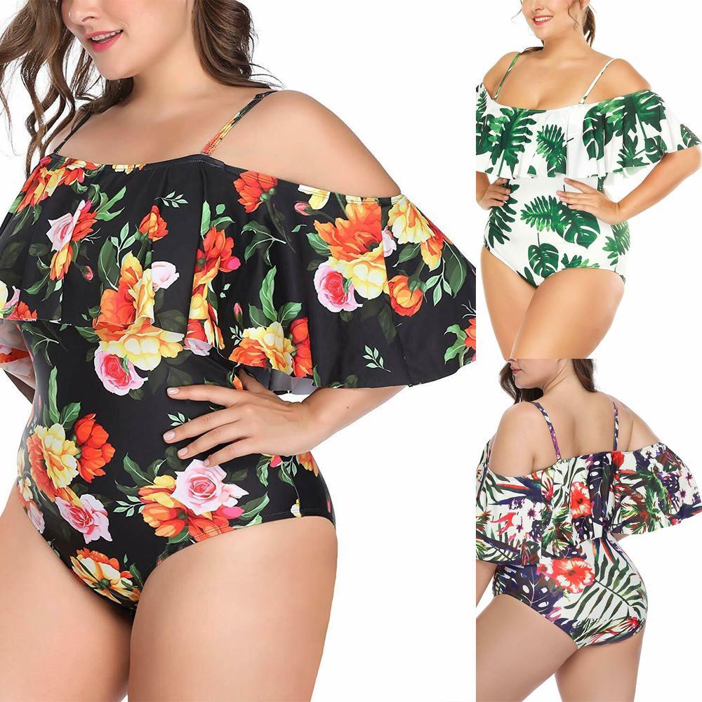 2019 dimensione donna più costume da bagno di un pezzo floreale verde costume da bagno per le donne Big Leaf Piscina Vintage Bagnante femminile Costumi da bagno