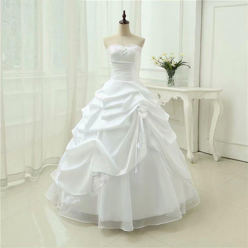 Unique Strapless White Ball Gown Wedding Dresses Online Taffeta and Organza Western Bridal Dresses with Ruffle Skirt vestidos de noche