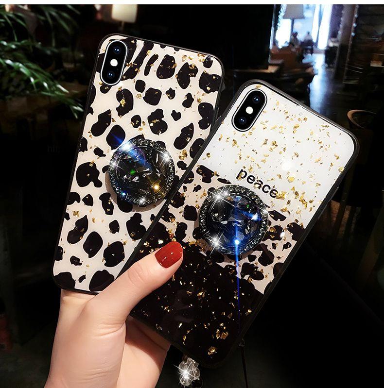 Leopard-print Luxus-Designer-Telefon-Kasten voller Bohrgerät-Halter für iPhone 11 Pro X XS MAX XR 7 8 Plus Epoxy für iphone Abdeckung