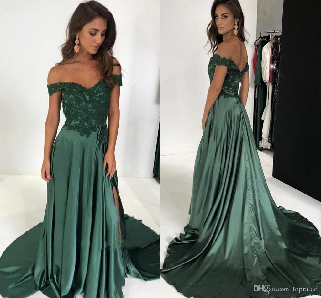 2019 Off The Shoulder Long Prom Dresses Appliques Lace Satin Split Side  Aline Floor Length Backless Evening Dresses Dark Green Party Gowns High  School