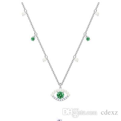 Crystals form Swarovski S925 Silver sterling LUCKILY Devil's Eye Lucky Guardian fresh necklace modern Campus wind Selection for elegant lady