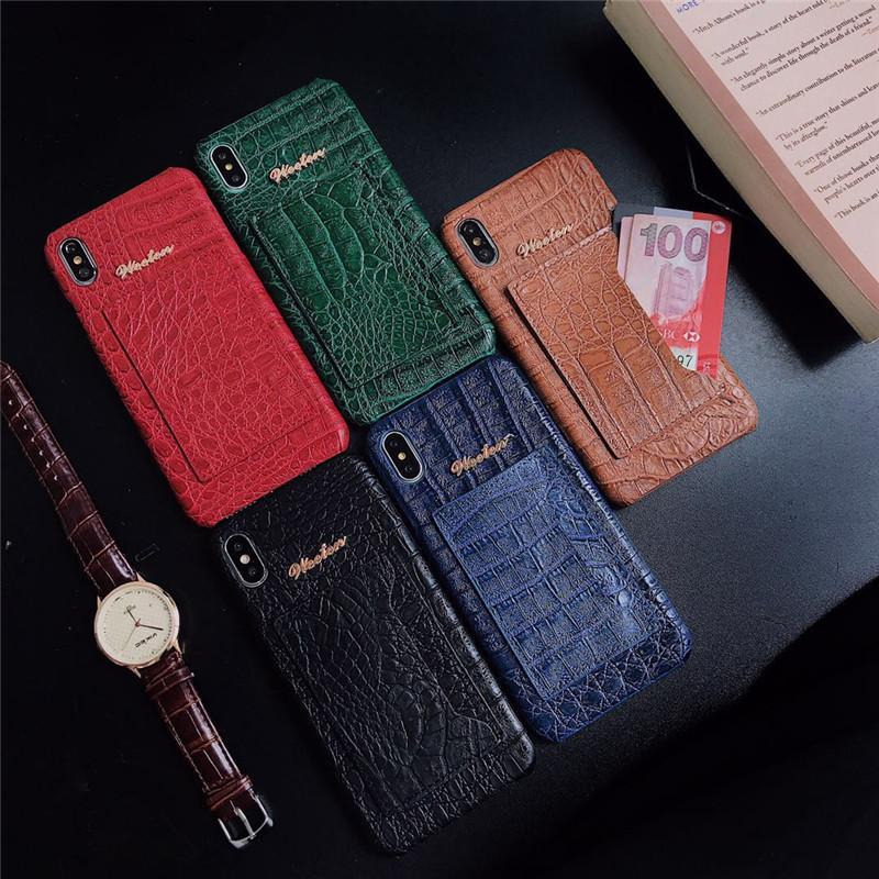 caja del teléfono de lujo de una sola pieza para iPhone 7 contraportada 8P XR XSMAX 11PROMAX cocodrilo de la manera patrón de piel de diseñador de la cartera para los regalos