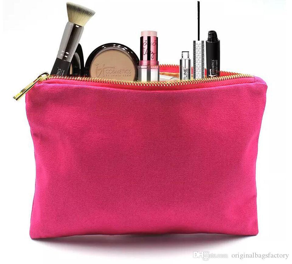 Bolso cosmético de lona de algodón grueso color rosa fuerte de 12 oz con forro de metal con cremallera dorada bolsa de maquillaje de algodón rosado sólido para bricolaje impresión disponible disponible