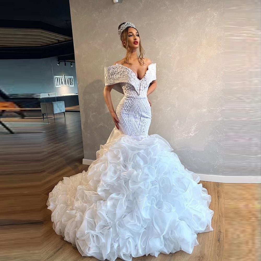 Великолепные свадебные платья с плеча шнурка Аппликация Бисероплетение Ruched Русалка Свадебное платье Роскошные Свадебные Платье де Noiva