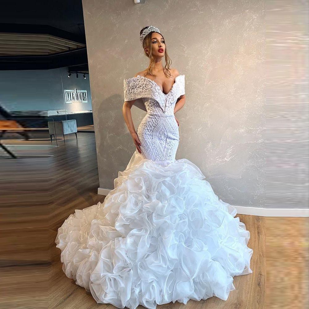 Preciosos vestidos de novia fuera de los apliques de encaje de hombros con abalorios vísteos de novia de sirena ruchada lujo bridal vestigio de noiva