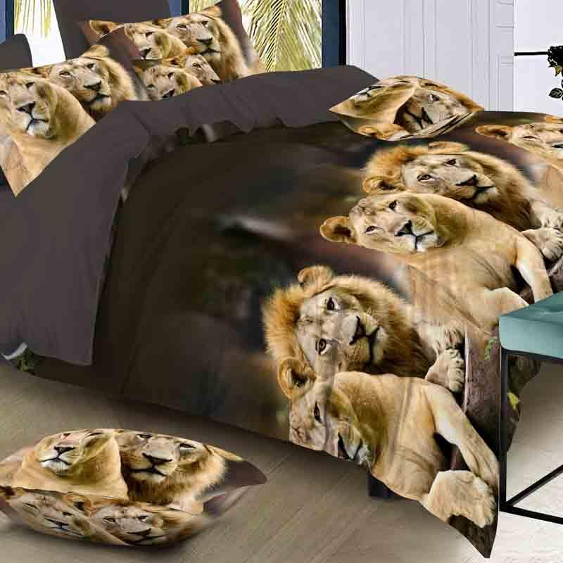 Lujo Inteligente juego de cama 3d ropa de cama 4pcs juego de cama Funda nórdica hoja plana Textiles para el hogar funda de almohada tamaño Queen Cat Lion