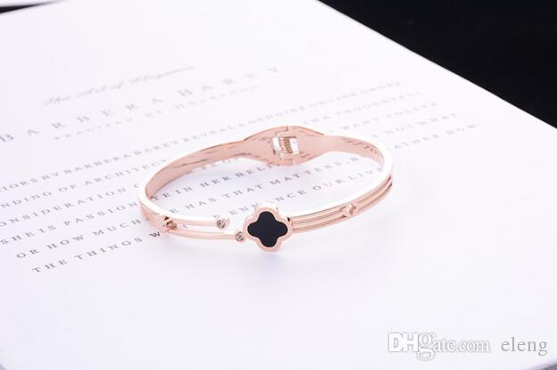 European and American trend big bracelets titanium steel 18k rose gold with diamond four-leaf clasp bracelet fashion wild gift female 213