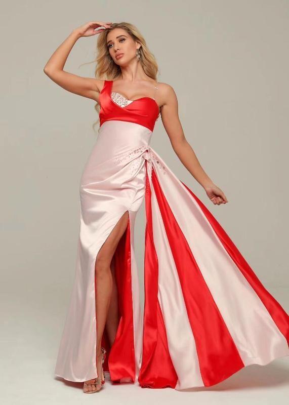 Maxi Dress Sexy élégante une épaule Celebrity Fashion Night CLub mariage robe de soirée de Noël de vacances Robes longues sexy
