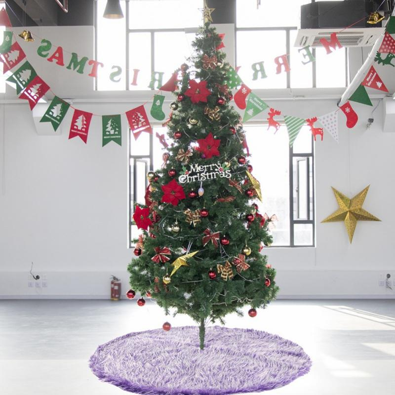 Árvore longa Plush Natal saia com Invisible Nylon Fecho Xmas Tree decorativa Mat Casa Decor Supplies vc