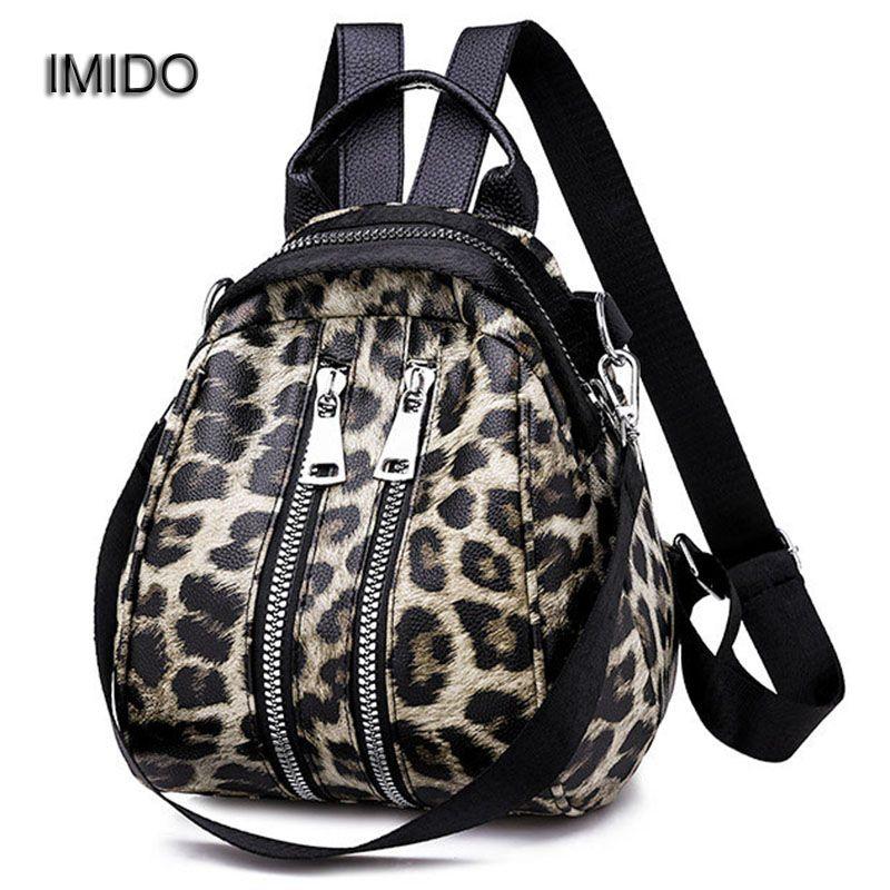 IMIDO ليوبارد المرأة حقائب السيدات حقائب السفر بو الجلود حقيبة صغيرة نمط حقيبة الكتف بنات مدرسة backbag bolsas SLD151