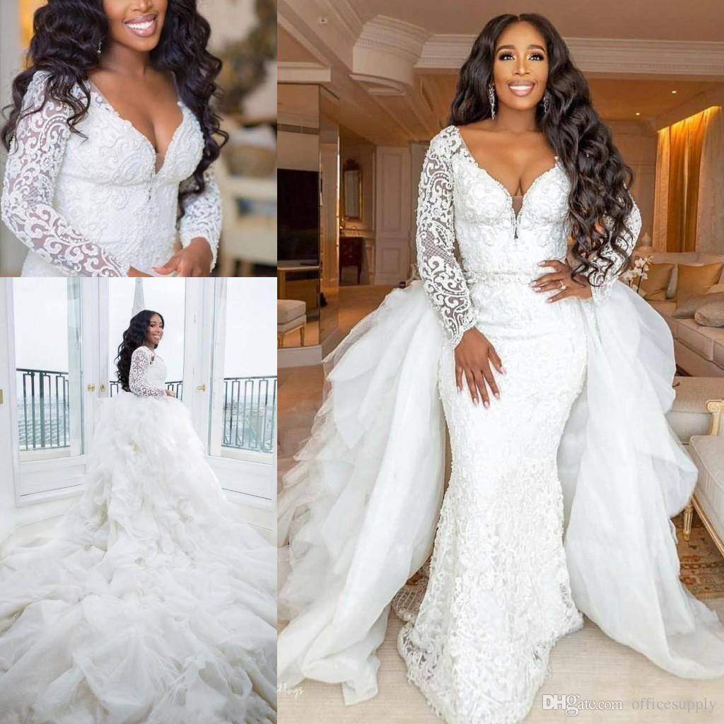 Robe de mariée sirène en dentelle à manches longues à grande taille sexy sexy décolleté en V profond noir fille robes de mariée