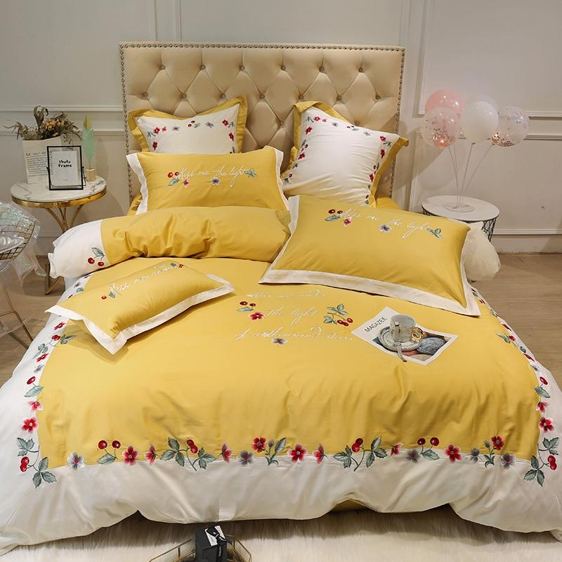 Ensemble de literie de broderie florale jaune Reine King size Ensemble de lit en coton égyptien Drap de lit ensemble housse de couette Literie Taie d'oreiller