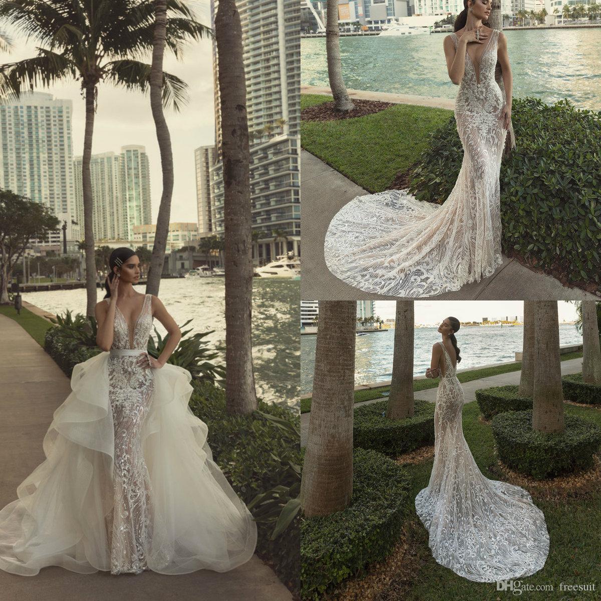 2020 Mermaid Wedding Dresses With Detachable Train Beaded Sequins 3D Floral Appliqued Lace Bridal Gowns Custom Made Vestidos De Novia