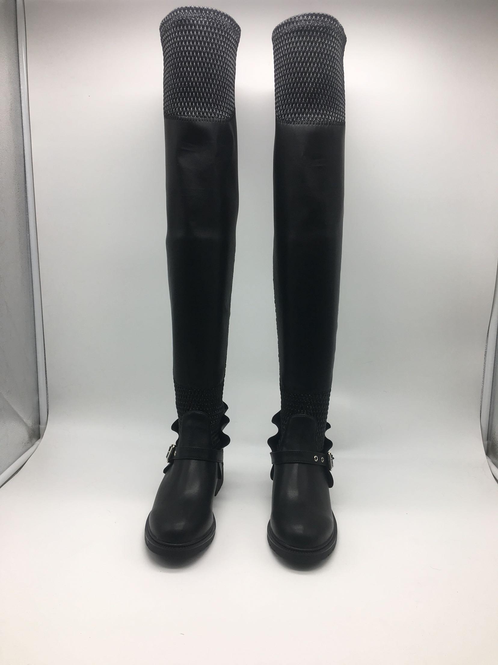 Sıcak Satış-Yuvarlak Düz Uzun Tüp Elastik Çizmeler Siyah Bayanlar Düz Topuk Ayakkabı Seksi Siyah Deri Uyluk Çizmeler Yüksek Çizmeler Bayan Düz Patik