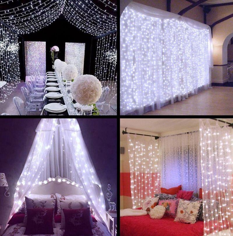3mx3m 300LEDs Natal de fadas cortina luzes cintilantes decorativa LED Cordas Outdoor luz Garland Wedding Party Patio Decor