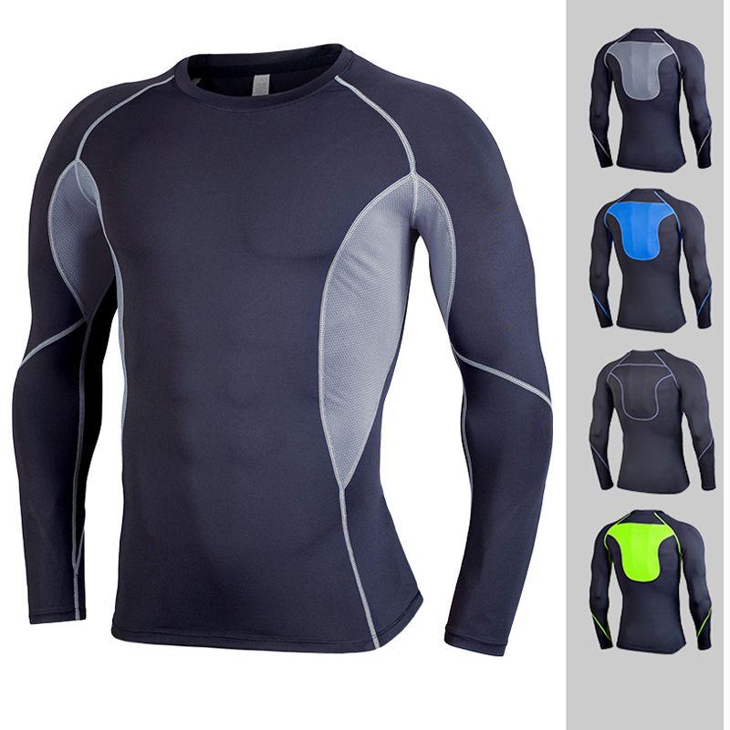 Hombres de compresión camisas apretadas camiseta de manga larga térmica capa bajo Inicio de condición física en el levantamiento de pesas del desgaste del envío libre