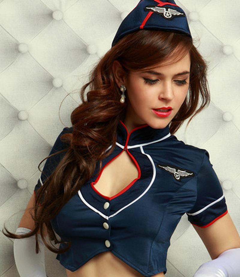 7pcs Cosplay Sexy Stewardess Uniformen Frauen-Wäsche-Stewardess-Kostüm-Kleid mit Top \ Rock \ Hat \ Handschuhe \ Socken \ Strümpfe \ t-shirts