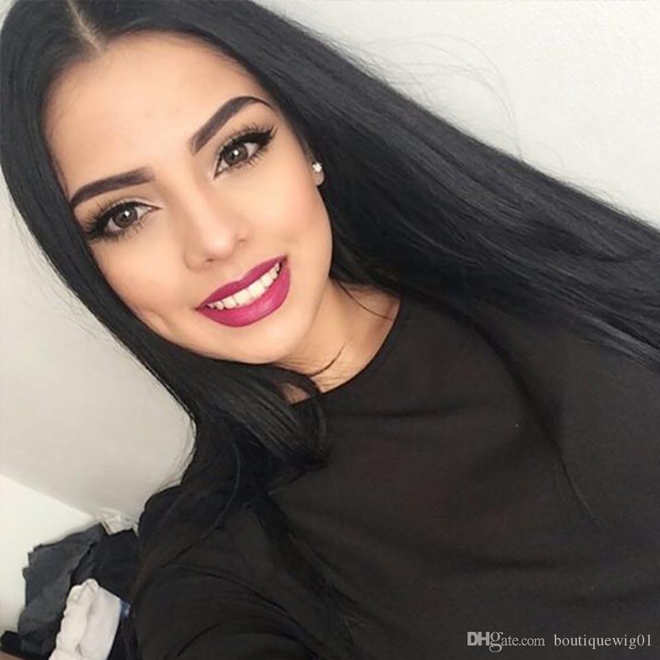 European American tendenza parrucca sintetica capelli lisci di alta qualità reale parrucca piena del merletto di 100% nuovi capelli capelli lunghi africano rosa tasto / net