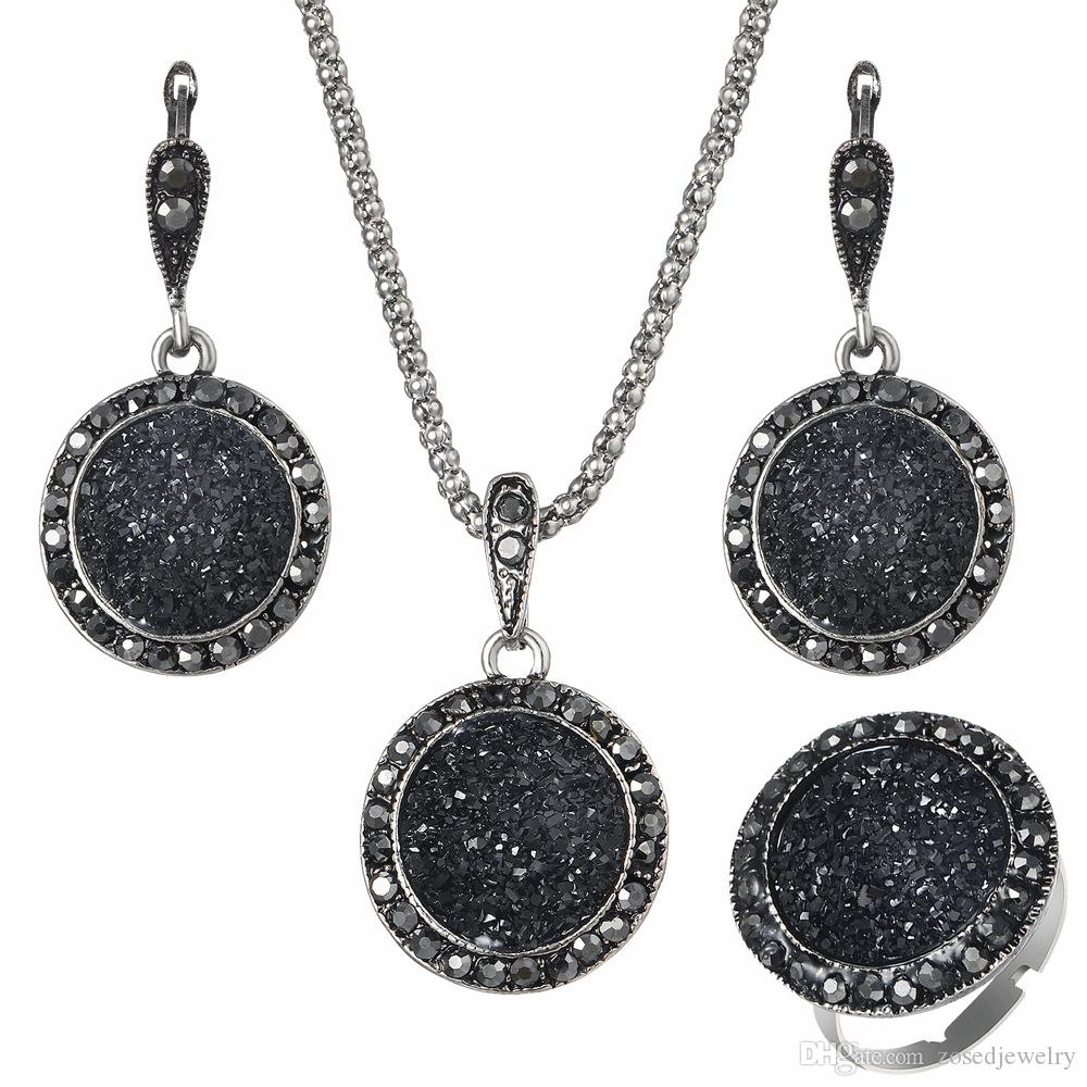 Women Black Crystal Pendant Earrings Statement Necklaces Party Elegant Girls Round Resin Ethnic Vintage Jewelry Accessories