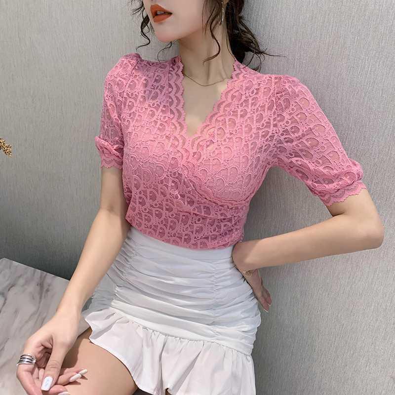 Летняя корейская одежда футболка мода сексуальные кружевные оборками женщин топы рубашки ROPA Mujer с коротким рукавом все матча Tees 2020 новый T04825