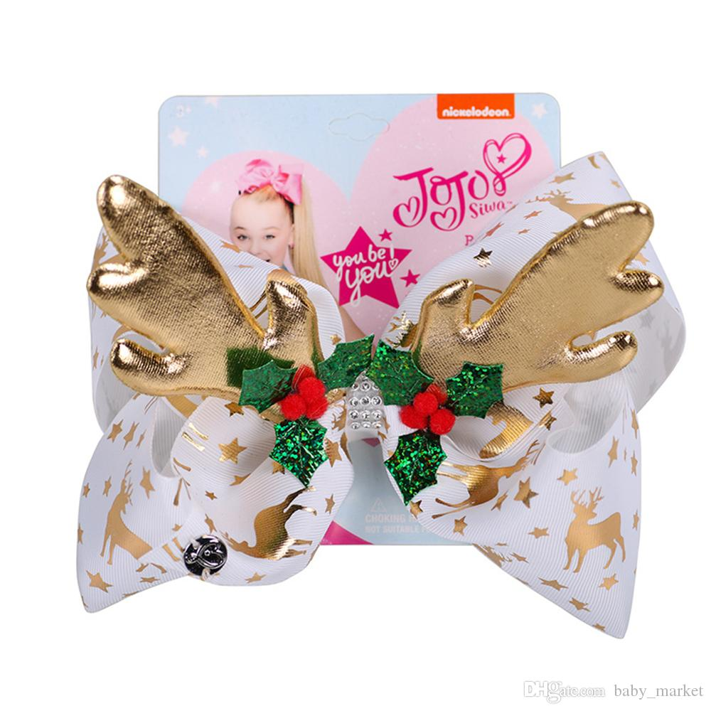 "Hot Sale JoJo Bows Girl Hair Clip For Girls Kids 8"" foil Printed Christmas deer horn antler Ribbon Knot Jumbo JOJO Siwa Large Hair Bow 8pcs"