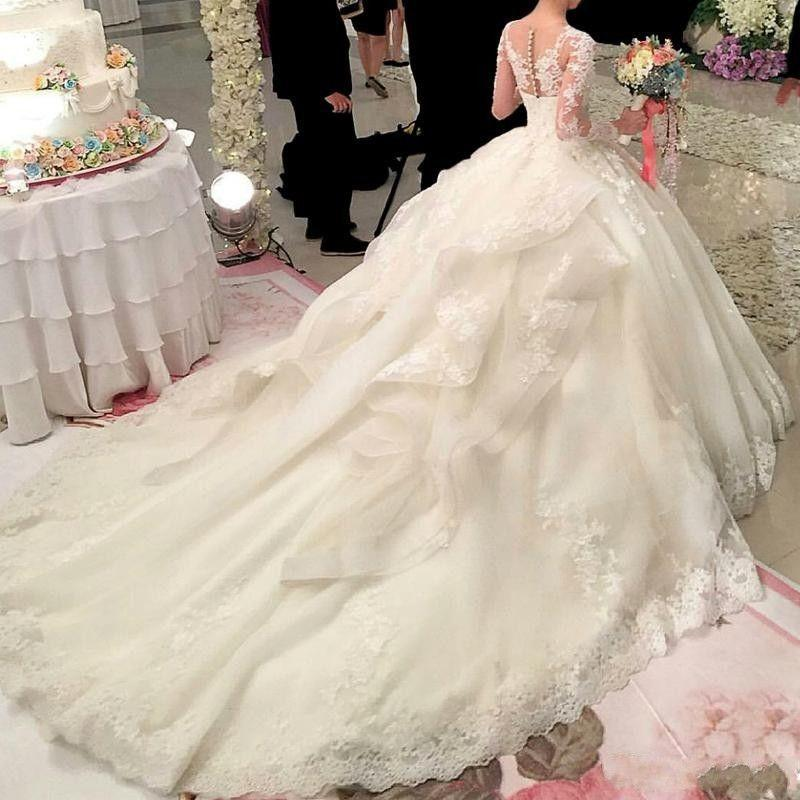 Court Train Long Sleeves Wedding Dresses Sheer Neck with Floral Applique Beads Sequins Layers Tulle Bridal Gowns