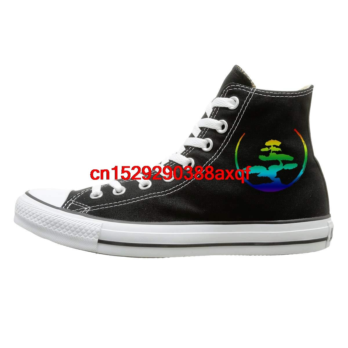 Canvas Shoes Bonsai Tree Japanese Calligraphy Circle Zen Classics High-Top Lace Ups Sport Sneakers For Unisex