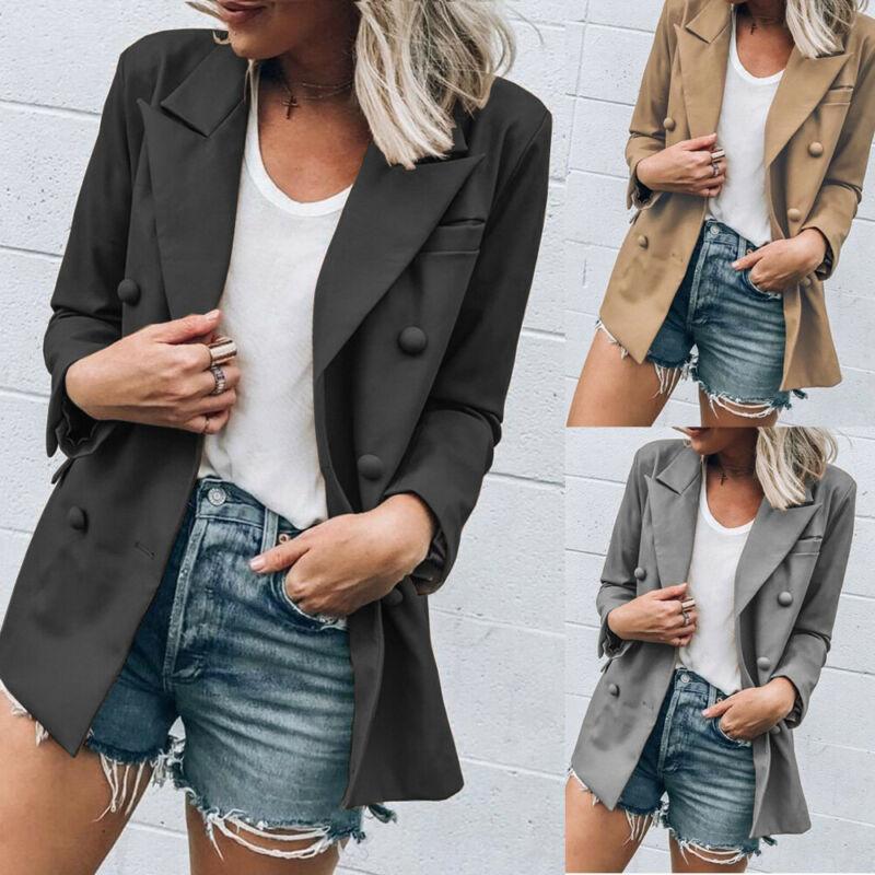 Mulheres Elegante Jacket Moda Slim Fit Botão Brasão Business Casual Blazer Suit senhoras Outwear New elegante