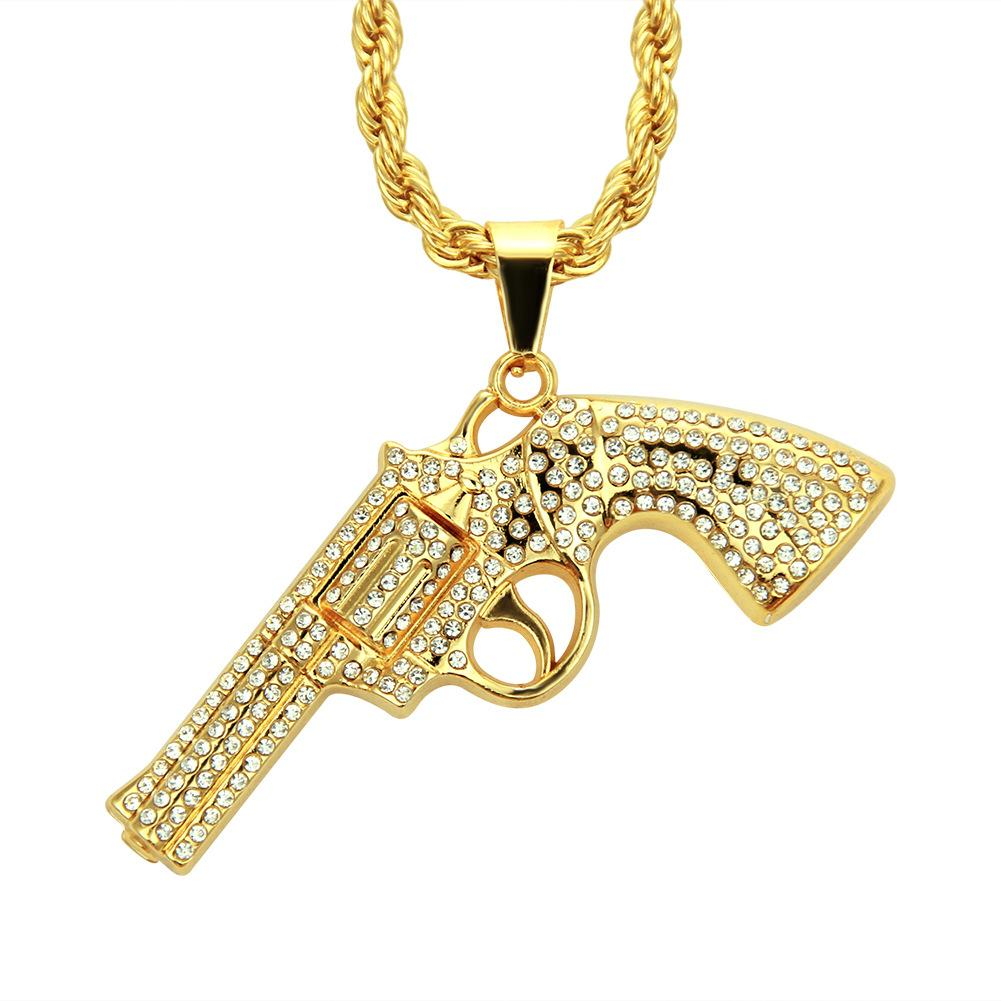 الهيب هوب مسدس بندقية قلادة قلادة مثلج حجر الراين الذهب والفضة اللون سحر اليد بندقية بلينغ بلينغ مجوهرات سلسلة طويلة الكوبية