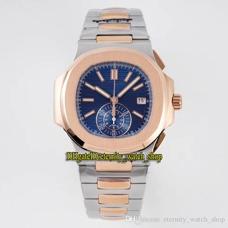 3K Top version Sport Nautilus 5980/1AR-001 Blue Dial Cal.CH 28-520 C Chronograph Automatic 5980 Mens Watch Two Tone Steel Band Sport Watches