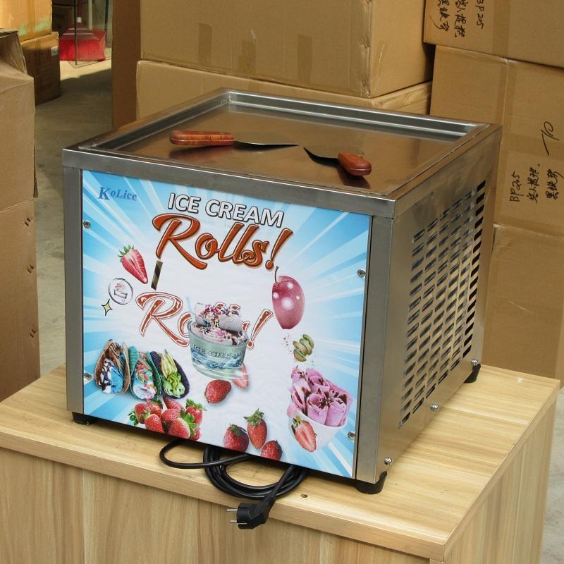 "Kolice 45x45cm (18x18 "") 팬 식품 가공 장비 Fry Ice Cream Roll Machine, Auto Defrost, Samrt AI Temp.Controller"