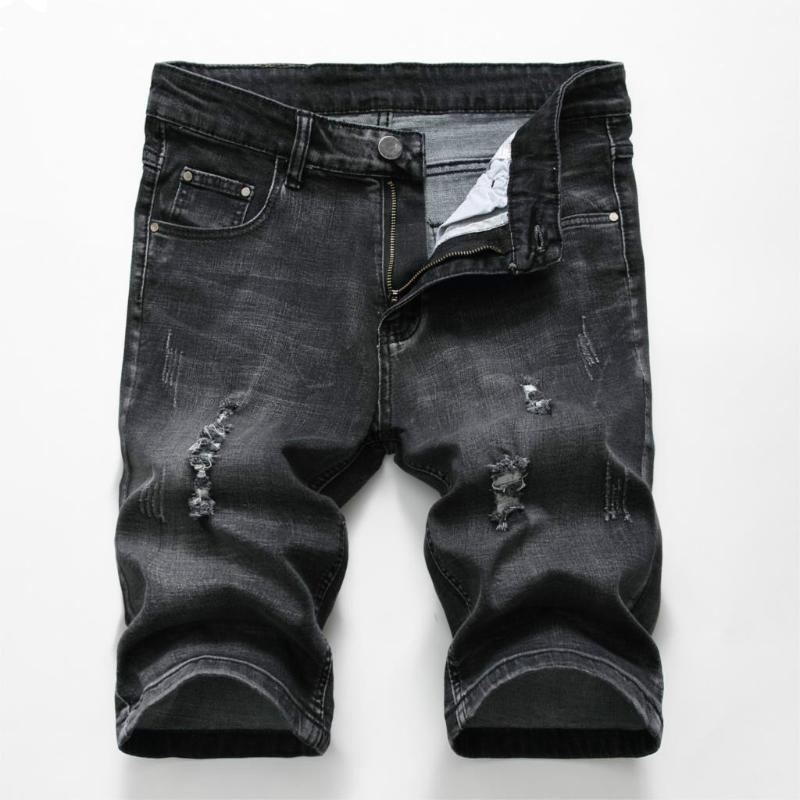 Hot Summer Denim Shorts Homens estiramento Slim Fit Short Jeans Mens Designer Cotton Casual afligido Shorts comprimento do joelho