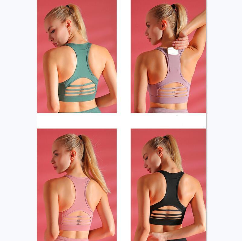 US-Aktien neu Frauen-Sport-Voll Expression Flow-Y-BH Lange Linie Energie hohe Ansatz Peek Yoga Workout Gym Sexy Backless Weste Sexy Lady Unterwäsche