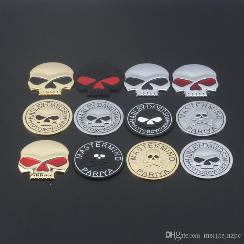 Dell'automobile di personalità cranio del metallo Logo Sticker Modificato coda in lega di zinco Skull autoadesivi del corpo autoadesivi dell'automobile del distintivo adesivi contenenti Harley Logo