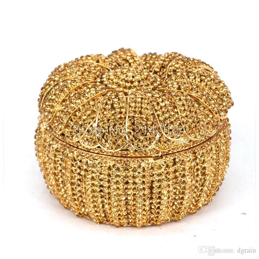 Dgrain Goldrhinestones-Frauen-Kristallabendhandtaschen Hochzeit Abschlussball-Partei Braut Kupplungs-Geldbeutel-Metall Minaudiere Handtasche Damen Box Bolsa