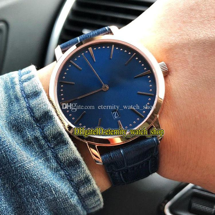 3 Styles Best version Patrimony 81180 000R-B518 Japan Miyota 9015 Automatic Rose Gold Case Blue Dial Mens Watch Leather Strap Gents Watches