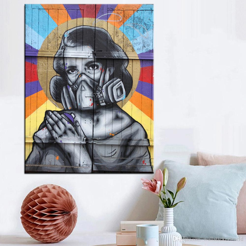 1 Piece Modern Wall Art Graffiti Art Colorful Girl Oil Painting Poster Prints Painting On Canvas Pictures Decor No Framed
