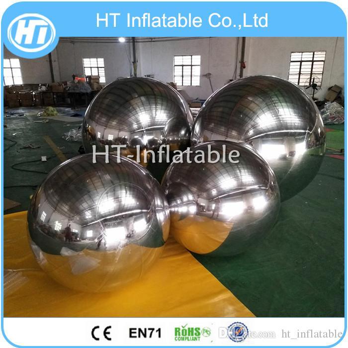 شحن مجاني العائمة 1M PVC الفضة كروم عاكس نفخ الكرة مرآة لعيد الفصح كرات مرآة كبيرة للبيع