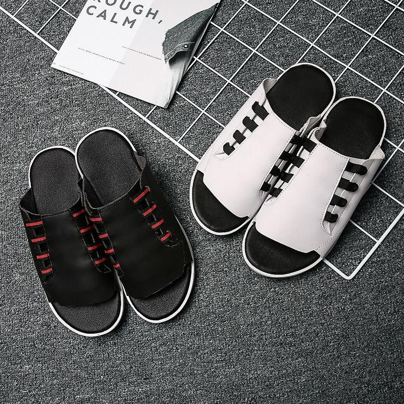 Erkekler Sandalet Deri Yaz Klasik Su Ayakkabı 2020 Terlik Rahat Moda Sneakers Plaj Ayaklı Terlik Chanclas Hombre Floplar