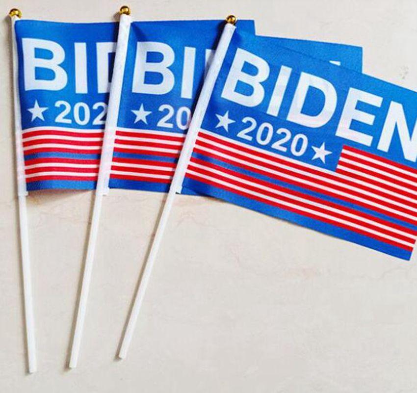 14*21cm 1pcs Joe Biden banner for 2020 Election Hand Flag President Garden Flag Decoration Banner for Yard Lawn Garden Banner LJJK2022
