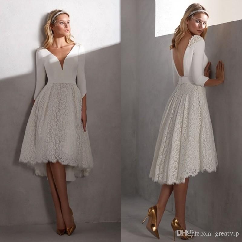 Valerio Luna Short Wedding Dresses V Neck Long Sleeve Lace Backless High Low Bridal Gowns Plus Size Cheap Beach robe de mariée