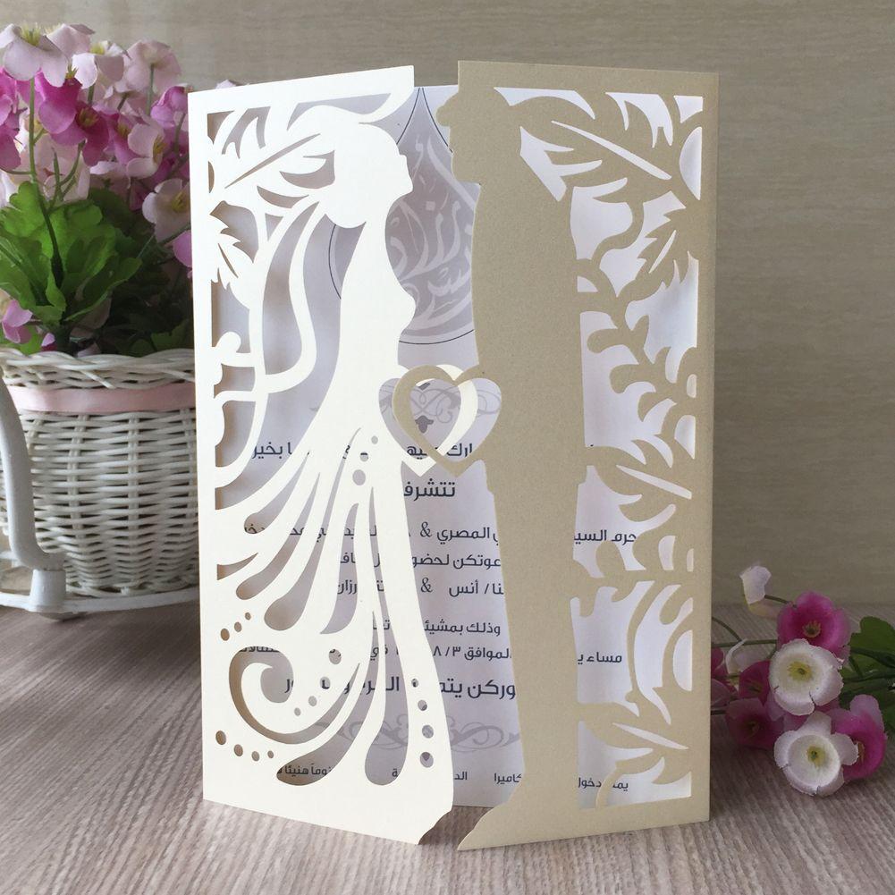 Gli amanti bacio matrimonio giallo squisito Laser Cut carta di perle carta piegata Inviti di nozze festa di compleanno Multi colore spedizione gratuita