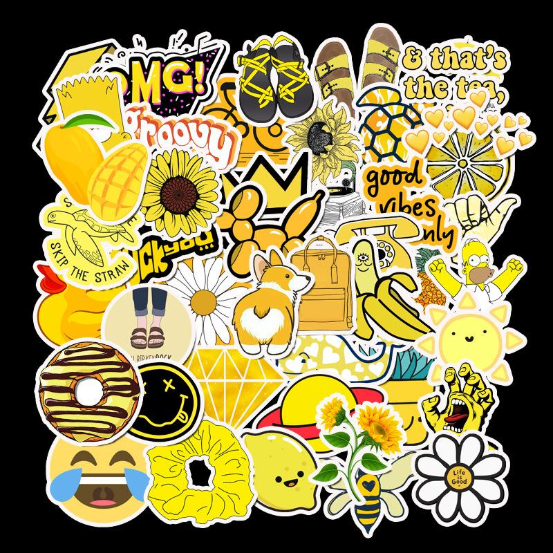 50 PCS Cartoon Yellow VSCO Stickers For Chidren Toy Waterproof Sticker to DIY Suitcase Laptop Bicycle Helmet Car Decals WD951115