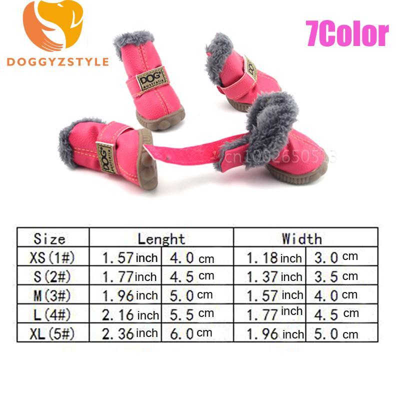 Impermeável pet dog shoes inverno quente 4 pçs / set botas de neve do cão pequeno de couro não-slip filhote de cachorro bota chihuahua animais de estimação ao ar livre sapatilha