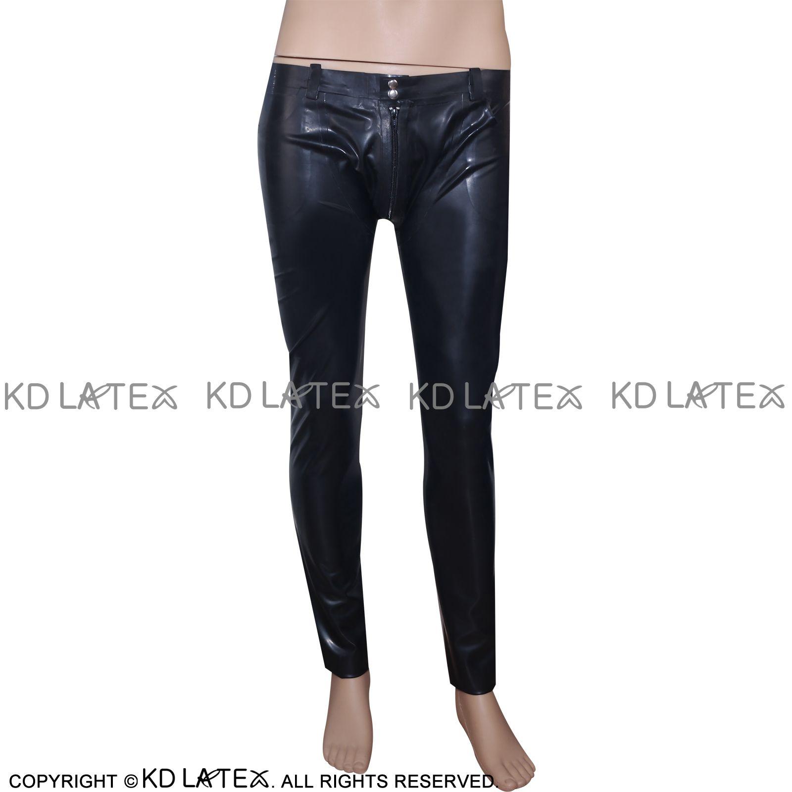 Jambières Latex sexy noir avec le pénis gaine et fermeture éclair à fétichiste avant Bondage caoutchouc Pantalons Jeans Pantalons Bas 0017