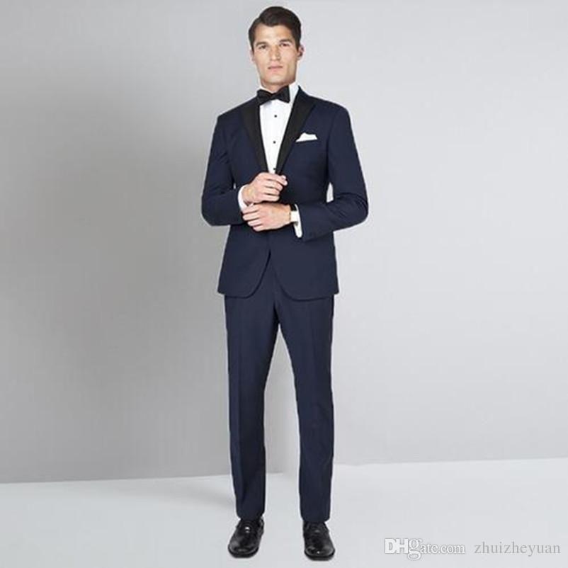 Валериана лекарственная 2019 последние пальто Пант дизайн темно-синий мужские костюмы для свадьбы, выпускного вечера костюм тонкий Fit мужской костюм жениха смокинги (куртка+брюки)