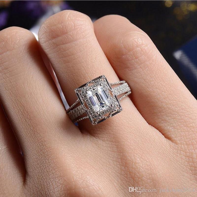Drop Shipping luxe Bijoux argent 925 taille princesse topazes CZ diamant Gemstones éternité femmes mariage nuptiaux cadeau