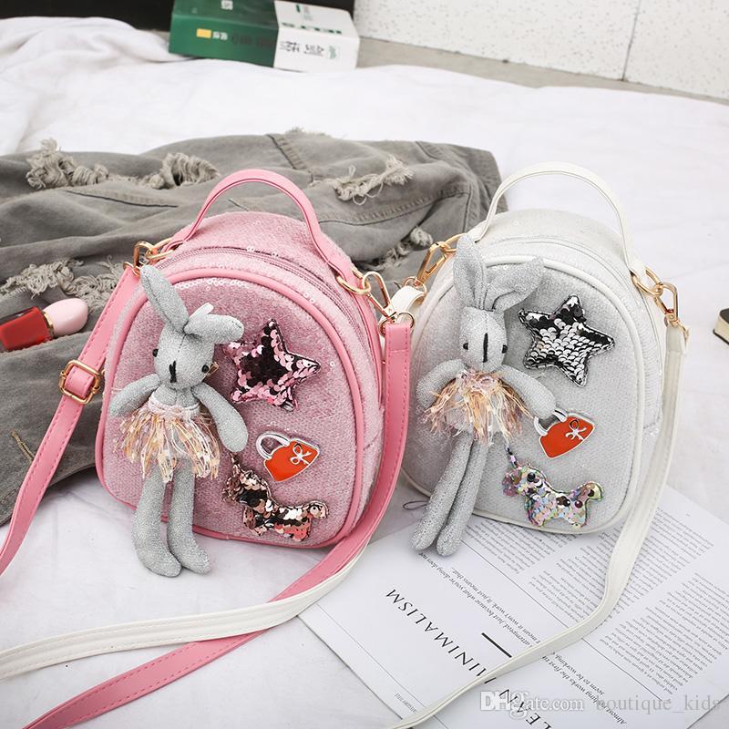 Çocuklar Sevimli Sırt 2020 Anaokulu Bebek Okul Çantaları Çocuk Sevimli Moda Payet Tavşan Dekorasyon Çapraz vücut Çanta Çocuk Snacks Çanta